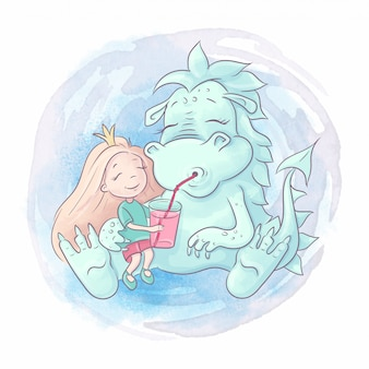 Dragão bonito dos desenhos animados e princesa menina são melhores amigas. ilustração em aquarela