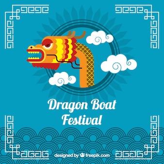 Dragão, bote, festival, fundo, dragão, cabeça, meio