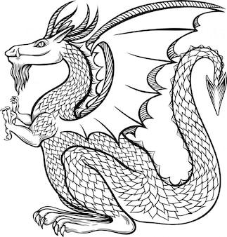 Dragão chinês da tinta bonita do vintage na ilustração do estilo chinês.
