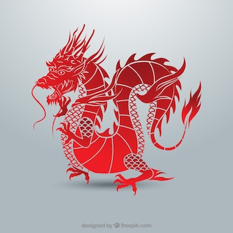 Dragão chinês tradicional com design de silhueta
