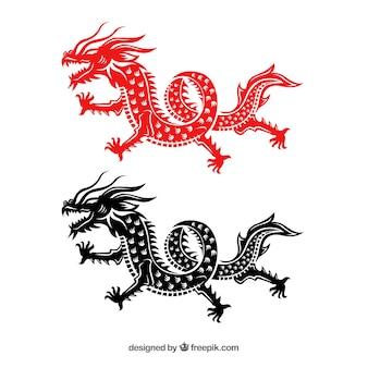 Dragão chinês tradicional em silhueta preta e vermelha