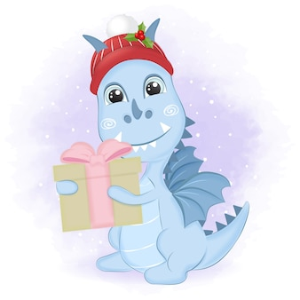 Dragão com caixa de presente no inverno e ilustração de natal.