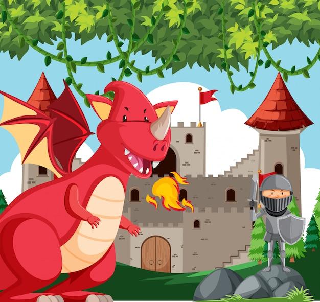 Dragão com cena de cavaleiro