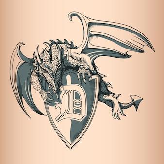 Dragão com escudo e letra d. mão desenho imagem