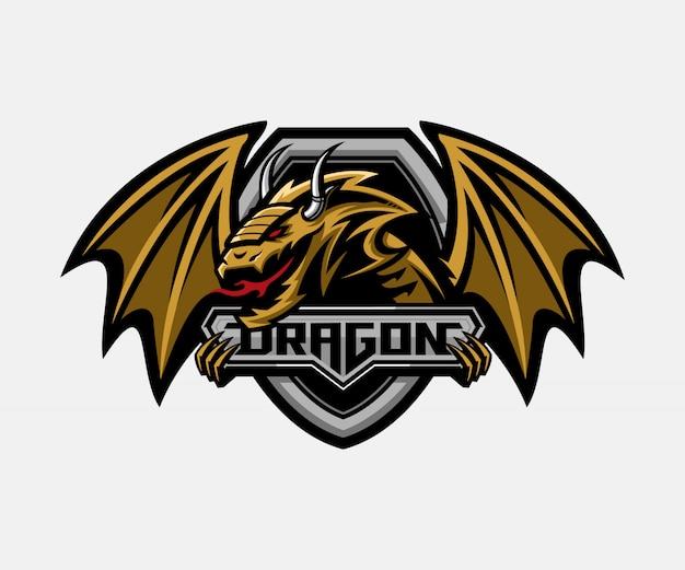 Dragão com modelo de logotipo de distintivo de escudo