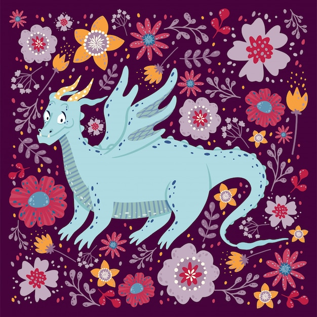 Dragão com o design de cartão de flores. infantil com um dragão em um quadro quadrado.