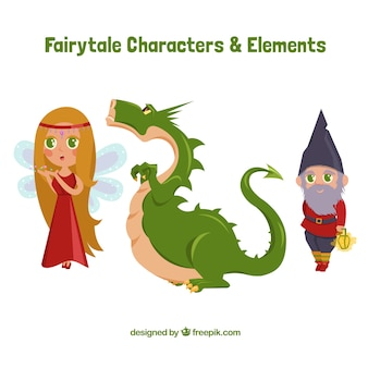 Dragão com personagens da história
