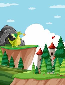 Dragão cuspidor de fogo na ilustração de cena do castelo