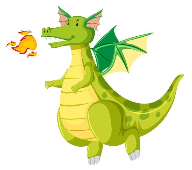 Dragão cuspidor de fogo verde