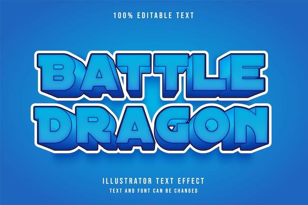 Dragão de batalha, efeito de texto editável em 3d, gradação azul e efeito de estilo fofo cômico