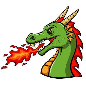 Dragão de cabeça dos desenhos animados, soprando fogo