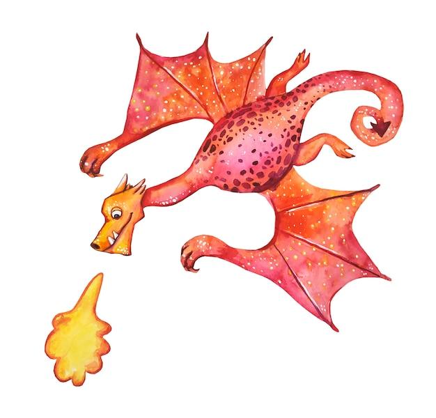 Dragão de conto de fadas em aquarela. estilo bonito dos desenhos animados de ilustração. história de fantasia. dragão cuspidor de fogo.
