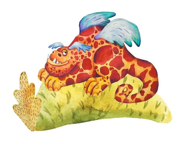 Dragão de conto de fadas em aquarela. estilo bonito dos desenhos animados de ilustração. história de fantasia.