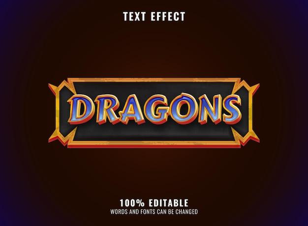 Dragão de diamante dourado de fantasia com efeito de texto do título do logotipo do jogo de rpg