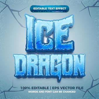Dragão de gelo 3d congelado com efeito de texto editável estilo desenho animado