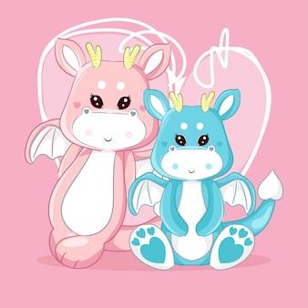 Dragão de mão desenhada casal fofo
