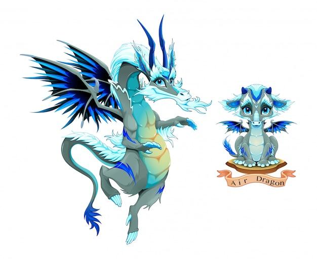 Dragão do elemento aéreo, cachorrinho e adulto