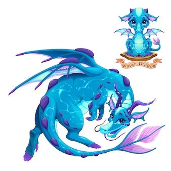 Dragão do elemento água, cachorrinho e adulto