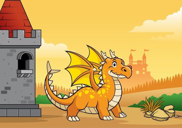 Dragão e castelo com estilo cartoon