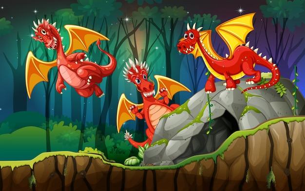 Dragão em terra mágica