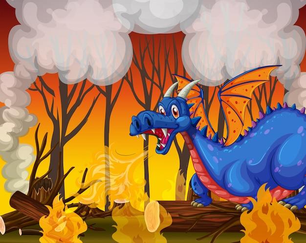 Dragão enterrando a floresta