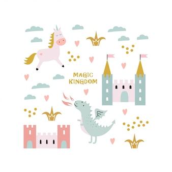 Dragão fofo, castelo, unicórnio. reino mágico