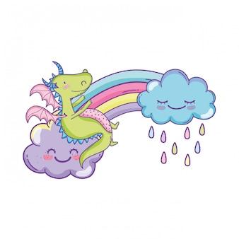 Dragão fofo em cartoons de nuvens