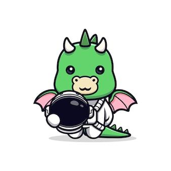 Dragão fofo vestindo terno de astronauta e segurando capacete personagem mascote animal