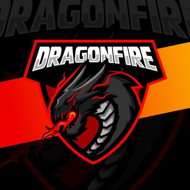 Dragão fogo mascote esport design de logotipo