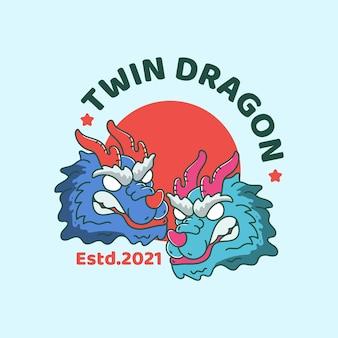 Dragão gêmeo com estilo japonês vintage