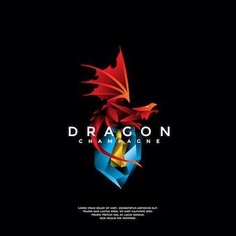 Dragão, logotipo de champanhe
