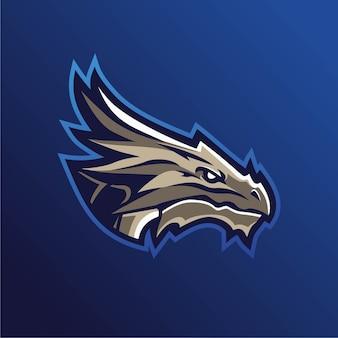 Dragão mascote jogos esport logotipo