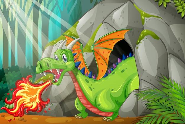 Dragão na caverna soprando fogo