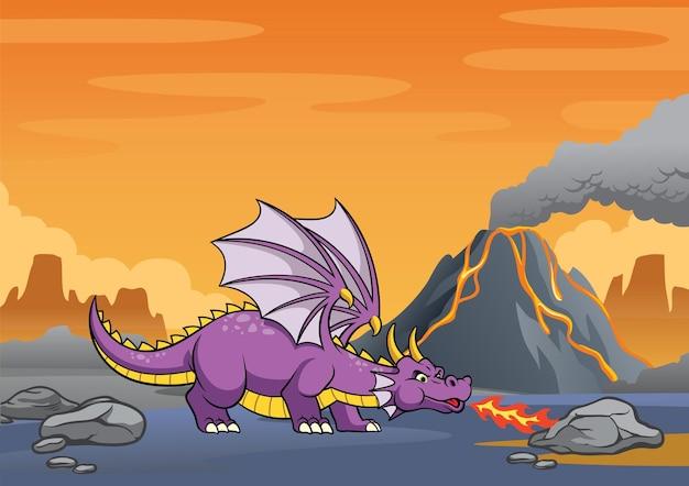 Dragão na montanha vulcânica