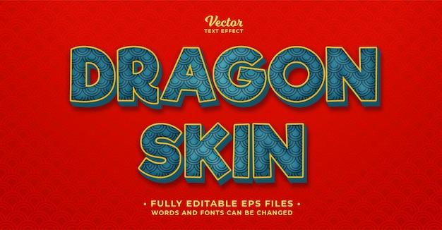 Dragão oriental efeito de texto editável eps cc
