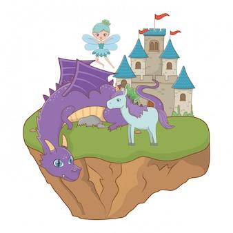 Dragão unicórnio e fada de ilustração de conto de fadas