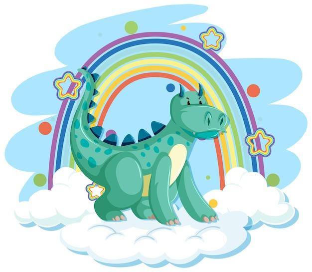 Dragão verde fofo na nuvem com arco-íris