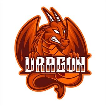 Dragão vermelho com raiva, ilustração em vetor logotipo mascote esports