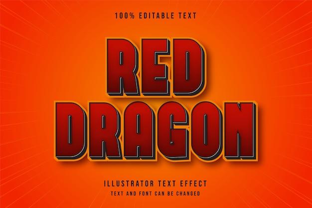Dragão vermelho, efeito de texto editável 3d vermelho preto amarelo estilo cômico