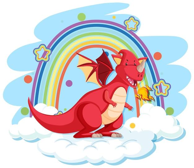 Dragão vermelho fofo na nuvem com arco-íris