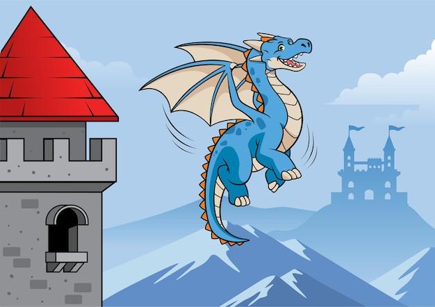 Dragão voando pelo castelo