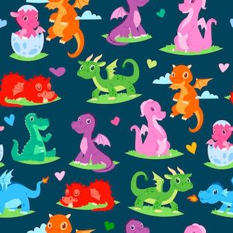Dragões crianças crianças sem costura padrão
