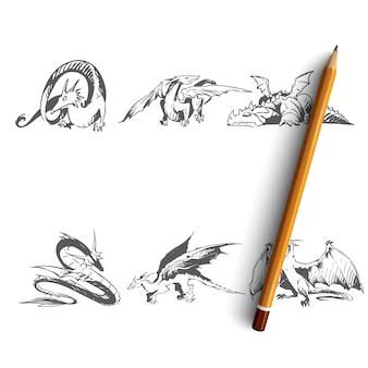 Dragões diferentes tipos de ilustração de dragões
