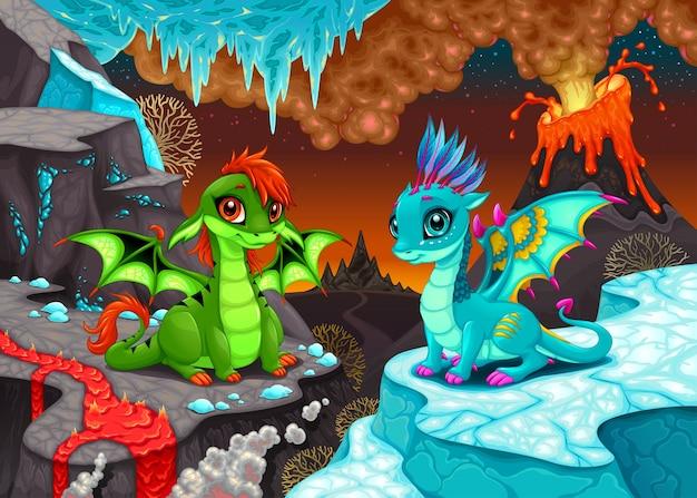 Dragões do bebê em uma paisagem de fantasia com fogo e gelo