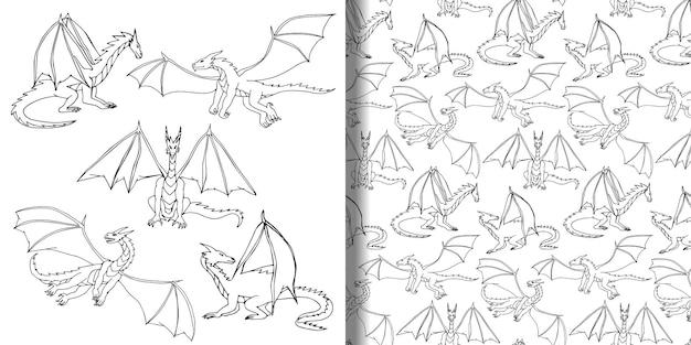 Dragões doodle conjunto desenhado à mão e padrão sem emenda papéis de parede de crianças desenham animais fantásticos