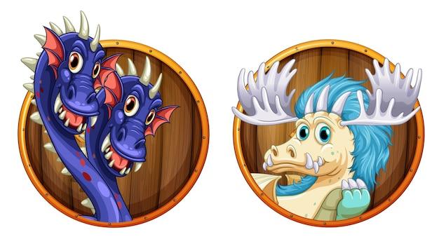 Dragões em emblemas redondos de madeira