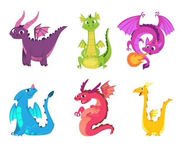 Dragões fofos. anfíbios de conto de fadas e répteis com asas e dentes personagens de criaturas selvagens de fantasia medieval