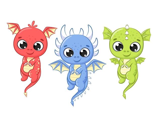 Dragões fofos estão voando. ilustração do vetor dos desenhos animados.