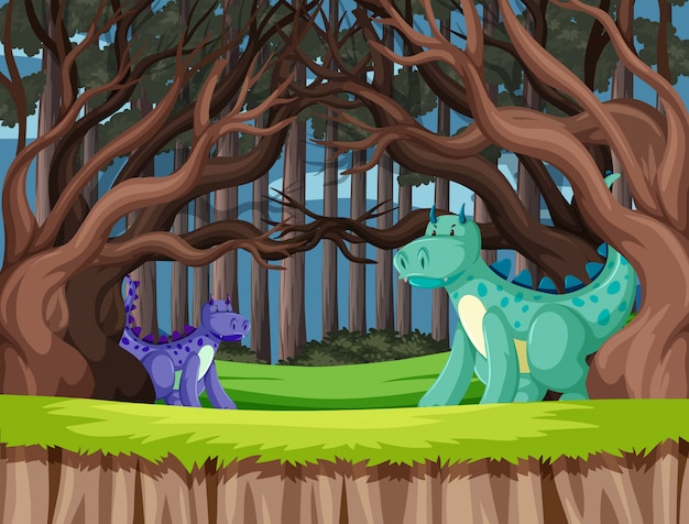 Dragões fofos na floresta