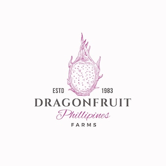 Dragon fruit farms sinal abstrato, símbolo ou modelo de logotipo.